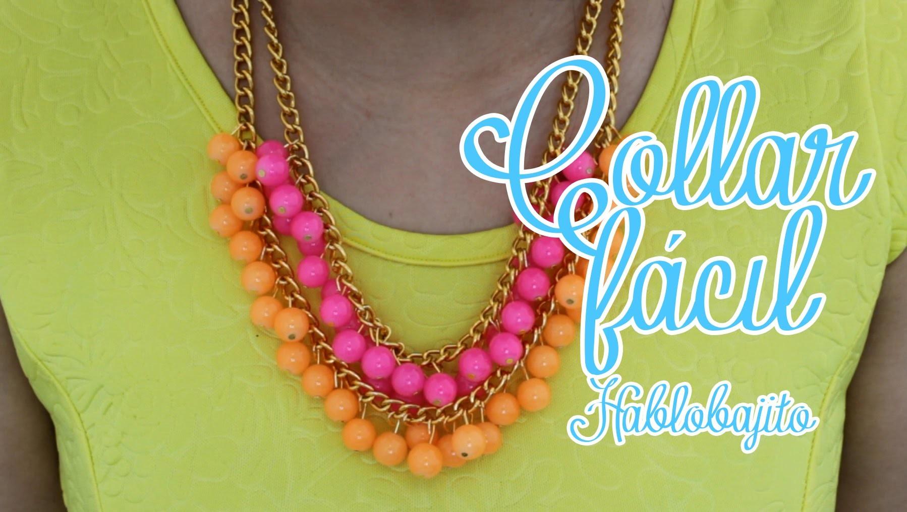 DIY Collar y aretes. Como hacer un collar de moda - Hablobajito