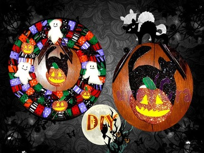 DIY | CORONA DE HALLOWEEN. HALLOWEEN WREATH | RECICLAJE - YuureYCrafts