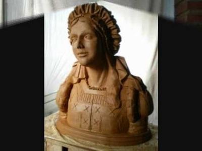 Escultura en madera.            Asi hago yo mis esculturas (Mujer con tocado renacentista)