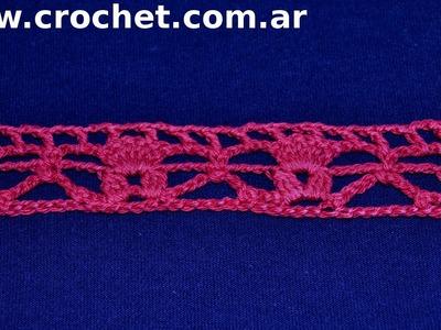 Puntilla N°54 en tejido crochet tutorial paso a paso.