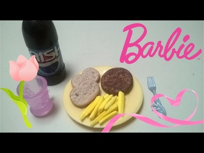 Tutorial COMIDA para Muñecas: Hamburguesa papas Fritas y pan ( Barbie Monster High)