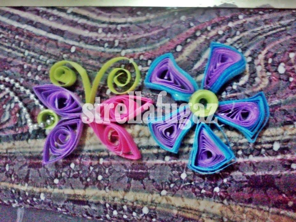 Tutorial: Dije o decoración de mariposa y Flor de Filigrana (quilling)