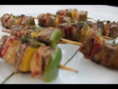 Brochette de carne y pimientos