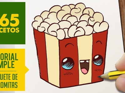COMO DIBUJAR UNAS PALOMITAS KAWAII PASO A PASO - Dibujos kawaii faciles - How to draw a popcorn