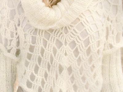 Como Tejer Poncho con mangas a crochet y a 2 agujas, aguja circular