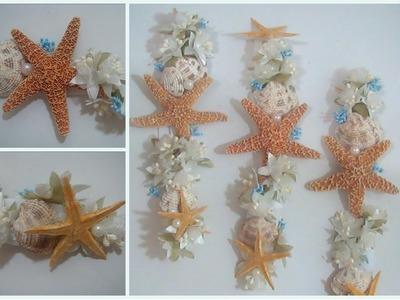 Corona.Diadema para el cabello con motivo del mar (estrellas de mar, conchas, perlitas y flores)