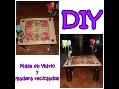 DIY: MESA EN MADERA Y VIDRIO RECICLADO