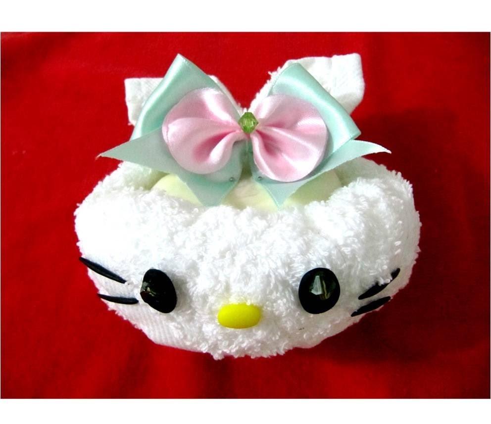 Hello Kitty de toallas y moños cintas recuerdos para baby shower paso a paso