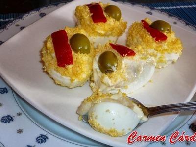 Huevos rellenos de bechamel con jamón serrano, Receta paso a paso de Carmen Cárdenas.
