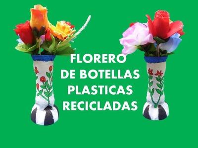 MANUALIDADES - Como hacer floreros con botellas  recicladas - RECICLAJE