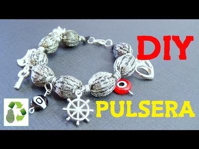 101. DIY PULSERA (RECICLAJE DE TELA Y CUENTAS)