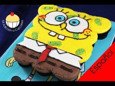¡Torta de Cupcakes de Bob-Esponja! Cómo hacer una Torta Desarmable de Cupcakes, de Bob-Esponja