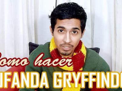 Cómo hacer Bufanda Gryffindor. Harry Potter. Dos colores horizontal DIY