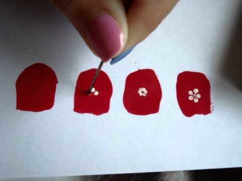 Cómo hacer flores en las uñas. how to draw flowers on your nails