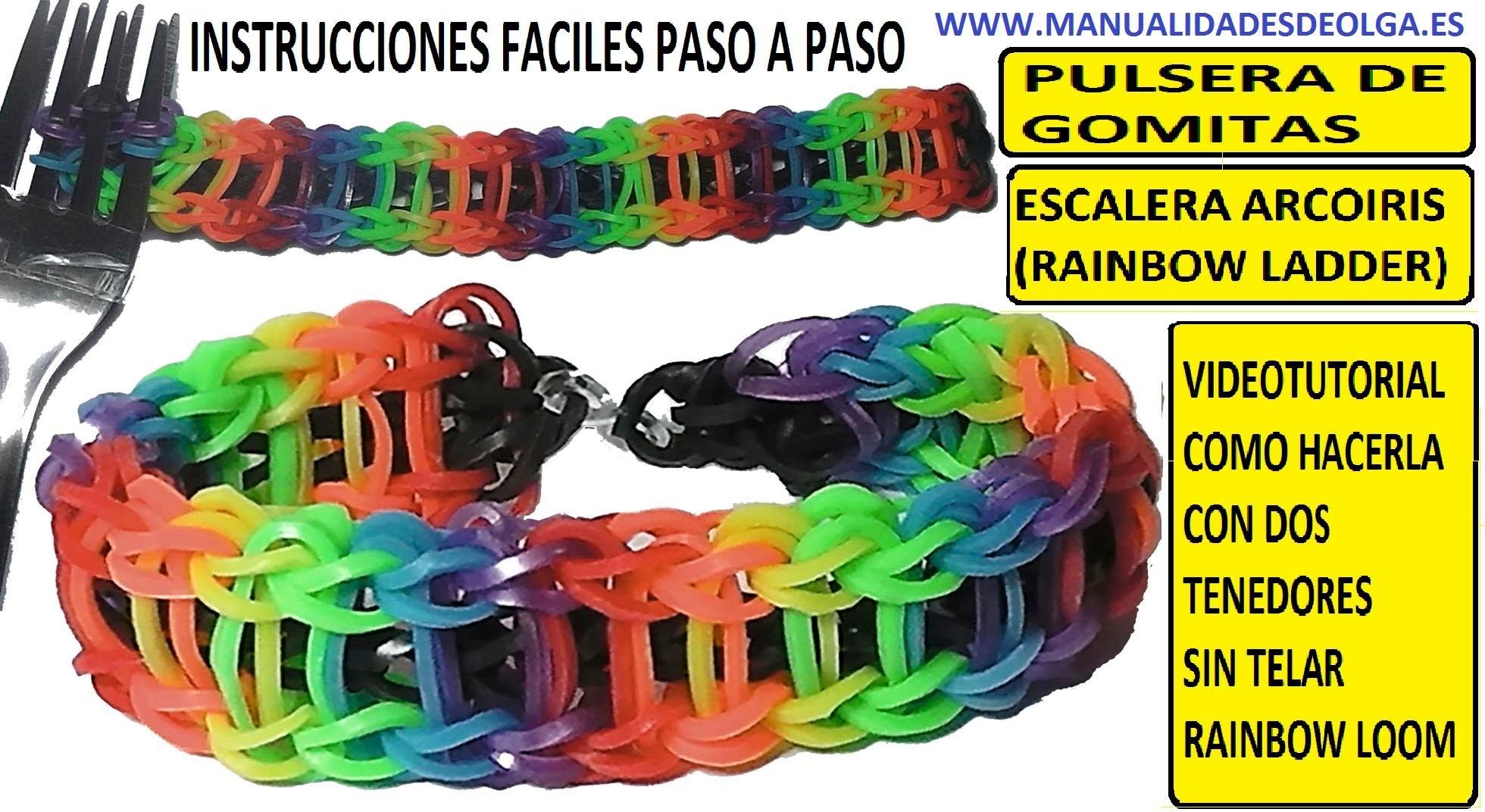 COMO HACER PULSERA DE GOMITAS ESCALERA ARCOIRIS (RAINBOW LADDER) CON 2 TENEDORES. VIDEOTUTORIAL