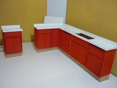 Como hacer una cocina para muñecas completa. Cubierta y color