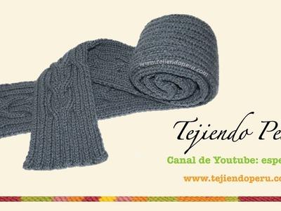 Cómo tejer una bufanda con trenzas reversibles entrelazadas en dos agujas o palitos