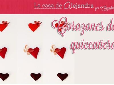 Corazones de quiceañera - DIY. Alejandra Coghlan