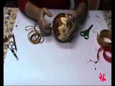 Decoración de una bola de porex para navidad