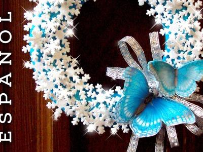 DIY Corona cristales nieve y mariposas de goma eva-Frozen Christmas wreath