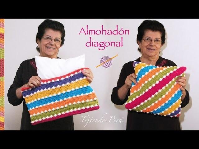 Funda en diagonal tejida a crochet para almohadones (la forma más fácil de hacerlo!)