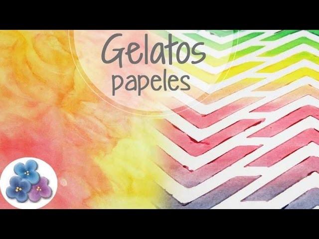 Gelatos: Hacer Papeles de Scrapbook y Backgrounds Papel Decorado Tutorial DIY español Pintura Facil