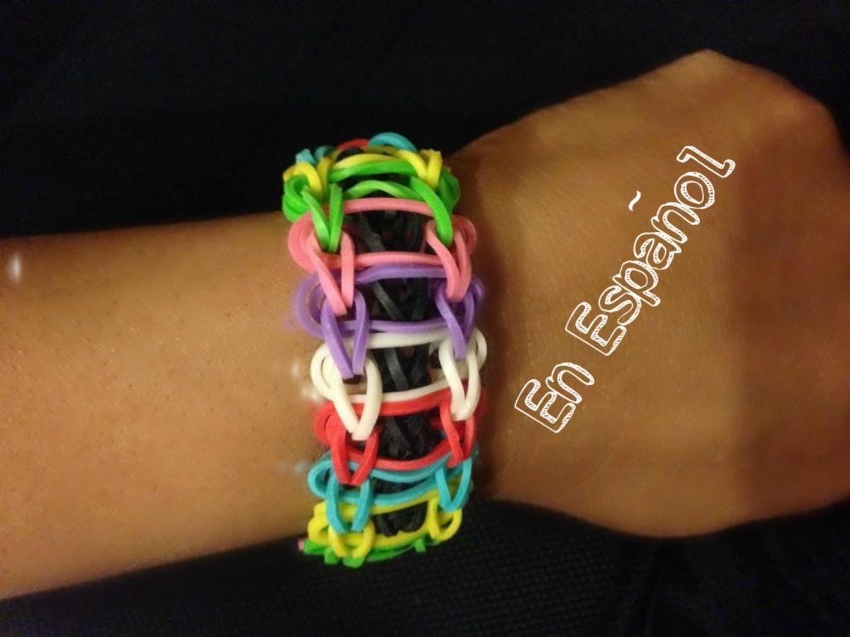 Rainbow Loom en ESPAñOL  Pulsera de Gomitas Escalon DIY - Ladder Bracelet