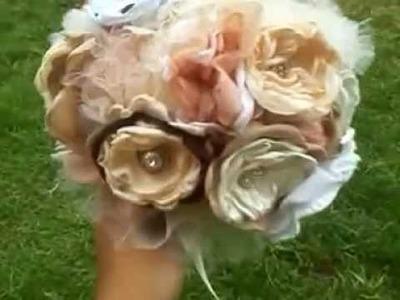 Ramo de novia con flores de tela
