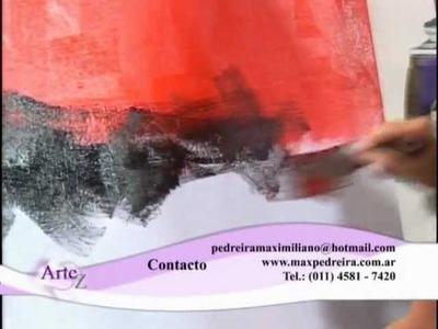 "Técnicas con acrílico en un cuadro pintado ""a cuatro manos"""