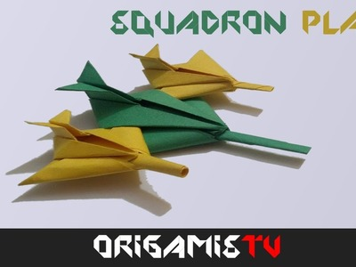 Avion de Guerra de Papel: Como hacer un avion de papel Squadron Facil Tutorial