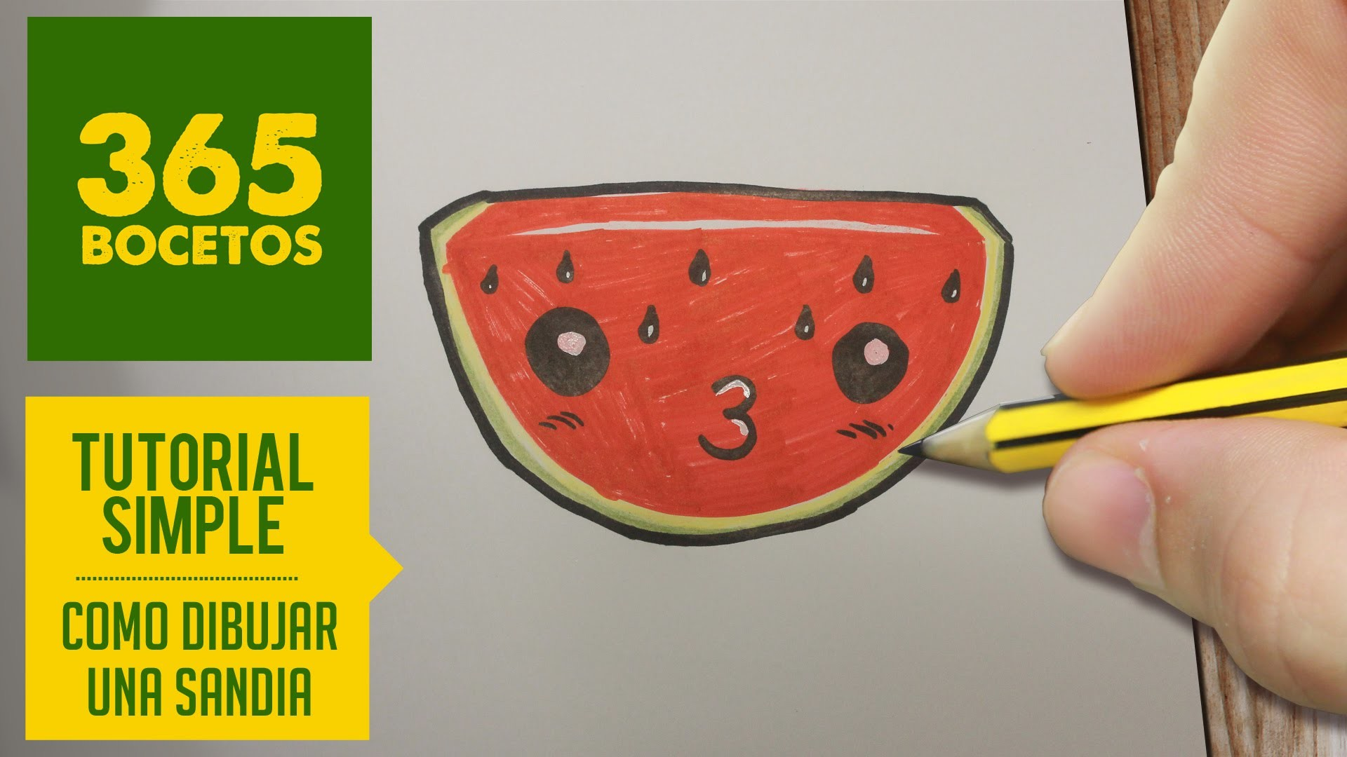 COMO DIBUJAR UNA SANDIA KAWAII PASO A PASO - Dibujos kawaii faciles - How to draw a watermelon
