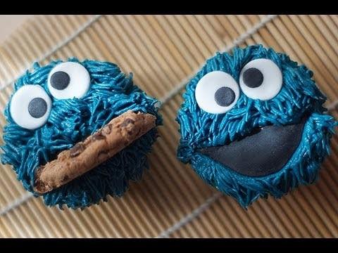 Cómo hacer Cupcake del Monstruo de las Galletas, Cookie Monster o Lucas (tutorial) ♥ Bocados Divinos