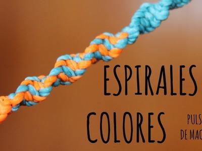 Espirales de colores. Pulsera de macramé ♥