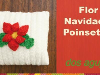 Flor de Navidad o poinsettia tejida en dos agujas o palitos