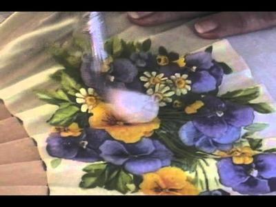 Manualidad abanico con aplicacion de Servilleta utilizando Porce Cristal