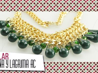 Collar de cadena y lágrima acrílica verde | VARIEDADES CAROL