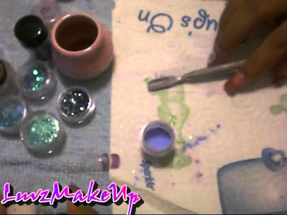 Como Hacer Acrilicos de Color con sombras oh Pigmentos!!!