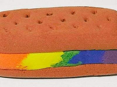 Como hacer helado arcoiris en sandwich de galleta con pasta o masa flexible tutorial manualidades
