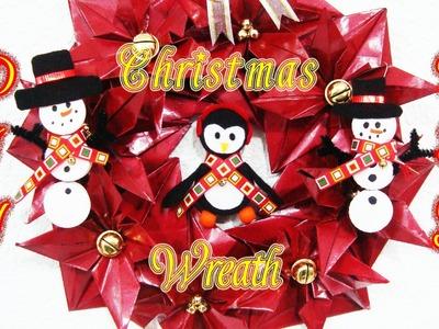 CORONA NAVIDEÑA. CHRISTMAS WREATH | NOCHEBUENAS | RECICLAJE | MANUALIDADES | DIY - YuureYCrafts