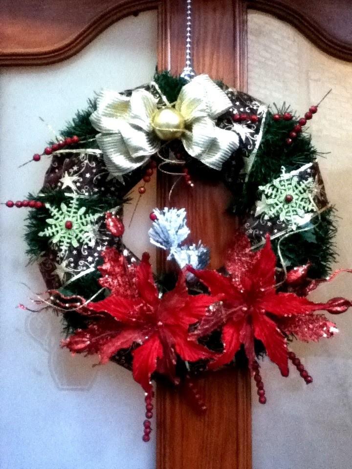 DIY Corona Navideña fácil noche buenas listón Christmas wreath