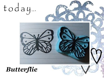 Hand carved rubber stamp: butterfly