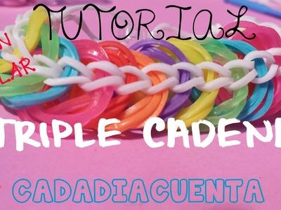 Tutorial pulsera triple cadena con gomitas de colores y telar  en español