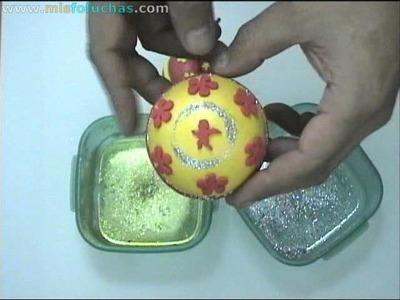 Bolitas para decorar árbol de navidad en foamy Parte 2