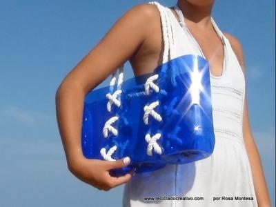 Bolso marinero playero con botellas de plástico