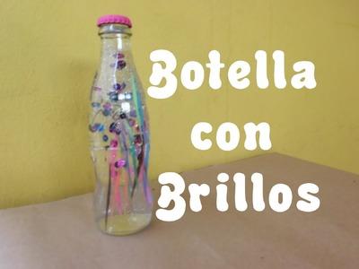 Botella de Vidrio con Brillos. Regalo-Decoración