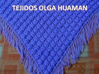 Chal tejido a crochet en punto rococo y relieve video 1