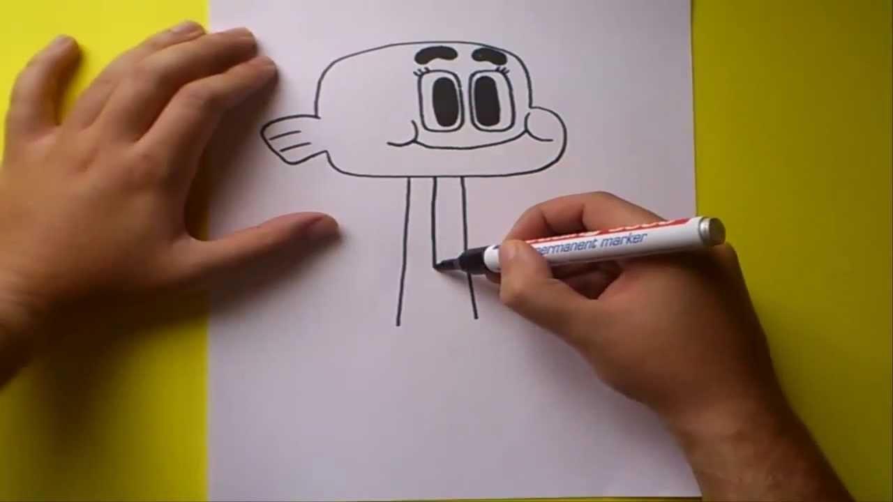 Como dibujar a Darwin paso a paso - El asombroso mundo de Gumball    How to draw a Darwin