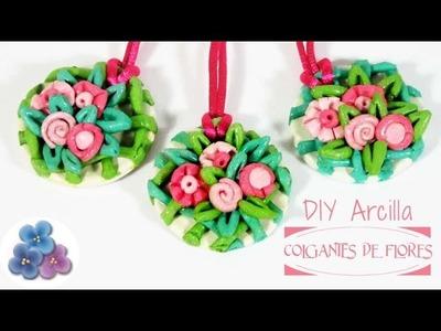 Como Hacer Colgantes de Flores con Arcilla de Colores Regalo Original DIY Accesorios Pintura Facil
