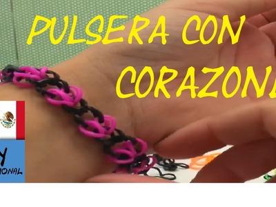 CÓMO HACER PULSERA DE GOMITAS CON CORAZONES - SÓLO CON GANCHILLO - TUTORIAL EN ESPAÑOL - DIY