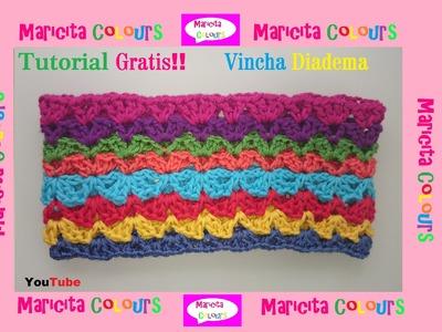 "Crochet Tutorial Vincha Diadema ""Sara"" super fácil de tejer por Maricita Colours"